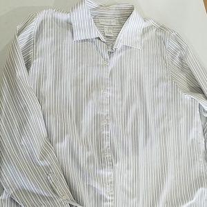 Worthington Tops - Woman's Worthington white stripe layering button
